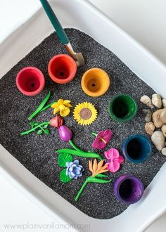 See how to put together this flower garden Sensory Bin.