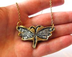 Dragonfly Necklace Impression in Clay with Silver Wings and Gold Color on Black on Gold Tone Nickel Chain Choker by VanessaStoryDesigns on Etsy