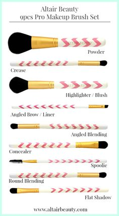 Professional Makeup Brushes by Altair Beauty. Endorsed by TOP Youtube beauty vloggers. Vegan makeup brushes includes: Powder, Highlighter, Angled Brow, Angled Blending, Concealer, Spoolie, and Flat Shadow.