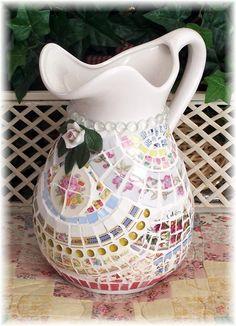 Shabby chic mosaic pitcher.