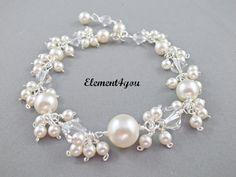 Bridal bracelet Wedding jewelry Bridal jewellery by Element4you, $56.00