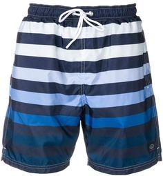 Paul & Shark Striped Swim Shorts In Blue Mens Gym Shorts, Swim Shorts, Mens Long Swim Trunks, Cheap Fashion, Teen Fashion, Shark Man, Paul Shark, Gym Wear, Size Clothing