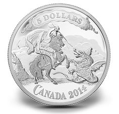 2014 Fine Silver Coin - Canadian Bank. Series: Saint George slaying the dragon