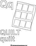Alphabet letter coloring q quilt printable sheet, parenting.leehansen.com