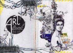 ArtBook. Коллаж + рисунок. Формат разворота А4. Материалы: вклейки, шариковые ручки, гелевая ручка, перьевая ручка, акварельные карандаши, чернила.