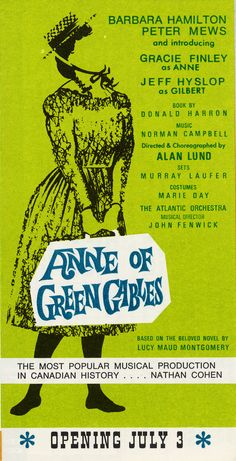 1968 brochure cover, Anne of Green Gables - The Musical™ at Confederation Centre of the Arts.