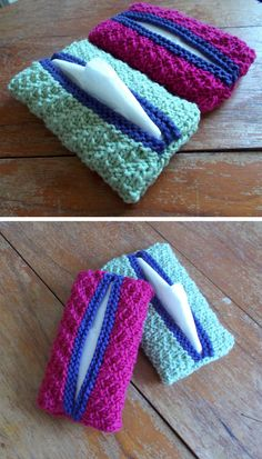 Pocket Tissue Covers – You picked a purse to fit your personality, so why not do the same with your tissues? These Pocket Tissue Covers are great easy knitting patterns that will dress up the… Easy Knitting Patterns, Loom Knitting, Simple Knitting, Knitting Ideas, Free Knitting, Crochet Home, Crochet Gifts, Knit Crochet