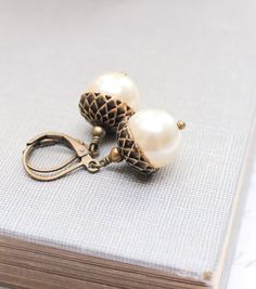 Pearl Acorn Earrings Ivory Cream Pearl Drops Autumn Jewelry Gift for Women Dangle Earrings Leverback Woodland Accessories Nature Inspired $22.00