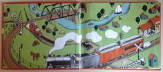 """Endpapers from """"The Little Train"""", Lois Lenski 1940"""