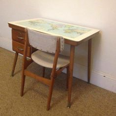 Vintage Retro School Desk Table World Map Laminex CRO C.R.O and Elite Chair