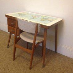 Vintage Retro School Desk Table World Map Laminex CRO C.R.O and Elite Chair