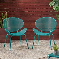Bask in the refreshing scent of the outdoors by relaxing in our set of curvaceous chairs. Featuring breathable mesh seating and groovy shell shape frame, our chairs offer a timeless yet modern style for your backyard while providing ultimate comfort. Patio Rocking Chairs, Patio Dining Chairs, Dining Chair Set, Outdoor Chairs, Metal Patio Furniture, Metal Chairs, Patio Glider, Modern Patio, Outdoors
