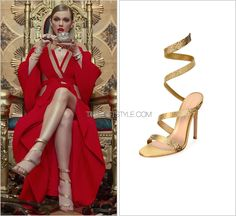 """""""Look What You Made Me Do"""" music video   August 27, 2017 Gianvito Rossi 'Opera Ankle Wrap Sandal in Gold' - $1,995.00 These shoes are so killer in their simplicity. Like, yes. Worn with: Balmain gown, Bulgari necklace and Bulgari bracelets Get the..."""