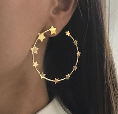 Sterling Silver Bracelets 925 Sterling Silver Cz Star Style Yellow Gold Plated Hoop Earrings New Niki Gems - Cute Jewelry, Jewelry Box, Jewelry Accessories, Fashion Accessories, Gold Jewelry, Jewelry Stores, Jewelry Ideas, Craft Jewelry, Cheap Jewelry