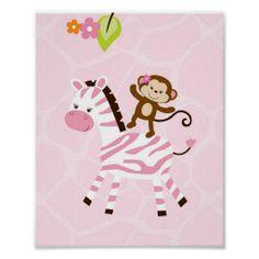 Safari Jungle Animal Monkey Nursery Wall Print