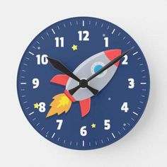 Moonluna Colourful Rocket Ship Outer Space for Kids Room Nursery Wall Clock for Kids Wooden Wall Art Decoration Silent Non Ticking Christmas Clock Gifts 12 Inches -- Click image for more details. (This is an affiliate link) Outer Space Bedroom, Space Themed Nursery, Space Theme Bedroom, Nursery Art, Nursery Ideas, Bedroom Themes, Bedroom Ideas, Boy Room, Bunt
