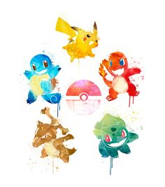 Squirtle, charmander, pikachu, bulbasaur, pokeball, cubone // Watercolor pocket monsters pokemon Art Print by Penelopeloveprints | Society6
