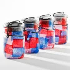 Put tissue paper in a mason jar, add a flameless candle (battery operated) and put lid on. Line your sidewalk or put on tables for an outdoor party.