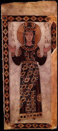 Icon of St. Eudokia, excavated at the church of Constantine Lips.  Archeological Museum of Istanbul, Istanbul, Turkey. Inv. No. 4309