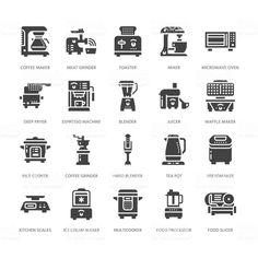 Ícones de glifo plana de eletroportáteis cozinha. Cozinhar doméstico ferramentas sinais. Equipamentos de preparação de alimentos - liquidificador, cafeteira, microondas, torradeira, moedor. Pixel sólido silhueta perfeita 64x64 vetor de ícones de glifo plana de eletroportáteis cozinha cozinhar doméstico ferramentas sinais equipamentos de preparação de alimentos liquidificador cafeteira microondas torradeira moedor pixel sólido silhueta perfeita 64x64 e mais banco de imagens de pequeno… Small Kitchen Appliances, Kitchen Small, Blenders & Juicers, Glyph Icon, Hand Blender, Multicooker, Journal Stickers, Microwave Oven, Coffee Machine