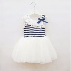 Baby Girls summer girls lace striped vest dress Size 6/12 M 12/18 M 18/24 Months 2-3 Years