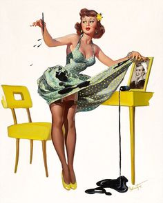 With a classic bob and fringe and the tops of her stockings on show, pin-up pictures don't come more classic than this one in which the model has accidentally knocked over a pot of ink next to a picture of her sweetheart dailym.ai/1tvylYq