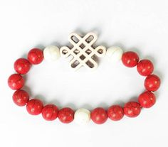 Girl Simple Fashion 7.5inch Lovely Turquoise White Knot Flower Round Red White Beads Beaded Stretchy Bracelet ZZ2710 by AnneJewelryAcc, $3.68
