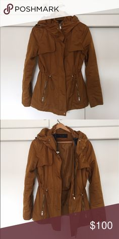 ZARA rain jacket - like new Worn twice - great condition! Lovely golden color with great zipper details. Zara Jackets & Coats