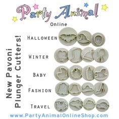 Pavoni Plunger Cutters and embossers are here in a wide range of shapes..perfect for cakes and cupcake toppers!
