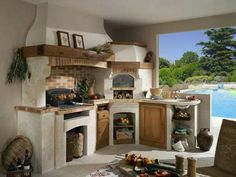 Antique white kitchen cabinets, white kitchen cabinets, painted kitchen cabinets, and kitchen cabinets ideas for your home. Outdoor Oven, Outdoor Cooking, Rustic Kitchen, Kitchen Decor, Country Kitchen, Küchen Design, House Design, Wood Fired Oven, Summer Kitchen