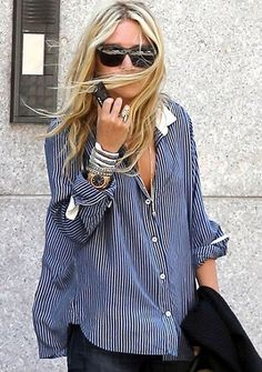 Striped Shirt and Blue Jeans Outfit by Mary Kate Olsen - Casual Chic Look - Street Style Fashion - Camisa Boyfriend, Boyfriend Shirt, Boyfriend Style, Look Boho, Look Chic, Looks Style, Style Me, Look Fashion, Fashion Beauty