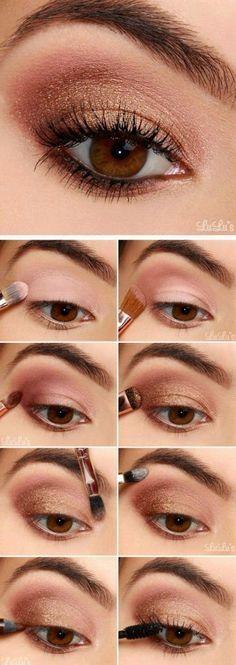 eye shadow tutorial Rose Gold Eyeshadow, Makeup Eyeshadow, Makeup Brushes, Bronze Eyeshadow, How To Eyeshadow, Eyeshadow Makeup Tutorial, Glitter Makeup, Eyebrow Makeup, Brown Eye Makeup Tutorial