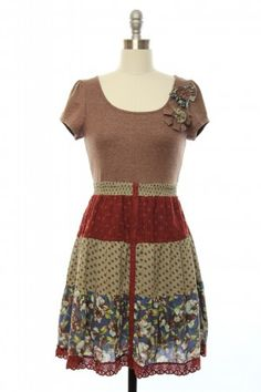 Passion for Patchwork Dress in Mocha