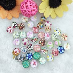 (40 pieces/lot)12mm round flower cabochons mix kawaii image transparent glass cabochon to fit blank earring findings xl114-in Jewelry Findings & Components from Jewelry on Aliexpress.com | Alibaba Group
