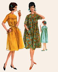 Vintage 60s McCalls 6056 MOD Lounger EASY House Dress Vintage 60s Sewing Pattern Size 14 Bust 34 UNCUT by sandritocat on Etsy