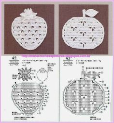Crochet apple and strawberry motifs or coasters Filet Crochet, Crochet Amigurumi, Crochet Diagram, Crochet Chart, Thread Crochet, Irish Crochet, Crochet Doilies, Crochet Flowers, Crochet Stitches