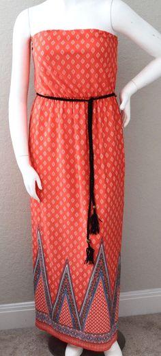 Find Me Plus Boho Bohemian Belted Tube Maxi Dress Coral & White 1Xl 2Xl 3Xl!