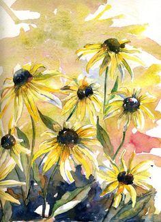 water color paintings, flowers | Original Watercolor Yellow Cone Flowers Painting by watercolorwork