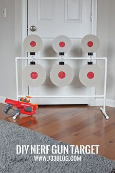 DIY PVC Nerf Spinning Target - This would make a great activity at a Nerf Birthday Party! Easy and inexpensive to build. DIY PVC Nerf Spinning Target - This would make a great activity at a Nerf Birthday Party! Easy and inexpensive to build. Pvc Projects, Projects For Kids, Diy For Kids, Crafts For Kids, Nerf Birthday Party, Nerf Party, Party Games, Carnival Birthday, Nerf Gun Storage