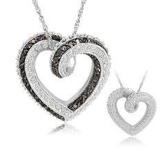 $99.99 - 2 Carat Black & White Diamond Sterling Silver Reversible Heart Pendant