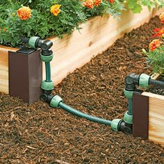 Maximize the potential of your Snip-N-Drip Irrigation System with the Snip-N-Drip Raised Bed Connector Kit to efficiently expand your system's reach Watering Raised Garden Beds, Garden Watering System, Raised Beds, Garden Paving, Drip Irrigation, Irrigation Systems, Deco Floral, Garden Boxes, Garden Supplies