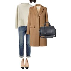A fashion look from February 2014 featuring pullover sweater, camel coat and J Brand. Browse and shop related looks.