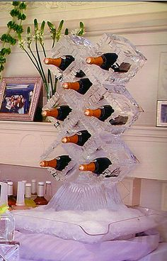 Ice wine rack- awesome wedding or New Year's Eve party idea!