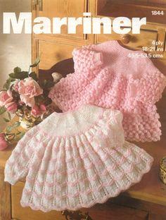 Dos estilos de bebé tejer patrón Tops/vestidos de Angel - 18-21 pulgadas de 4 capas