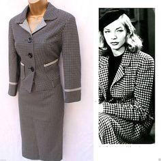 NEXT LADIES Hepburn 50's VINTAGE STYLE CHECK PRINT SUIT JACKET&PENCIL SKIRT 8 UK #Next #SkirtSuit #BusinessFormalWork