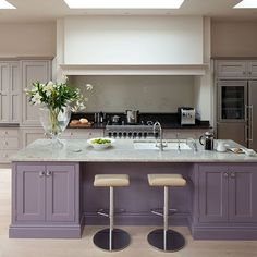 glamorous grey and purple kitchen with island - Purple Kitchen Decorating