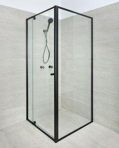 BLACK Framed Shower Screen 1200 (door) x 900 x 1950H mm Glass Corner Shower, Corner Shower Doors, Framed Shower Door, Bathroom Toilets, Bathroom Renos, Bathroom Renovations, House Renovations, Sliding Shower Screens, Next Bathroom