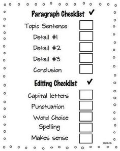 Love this checklist! Perfect and free! A must use! Paragraph Writing Hamburger Style