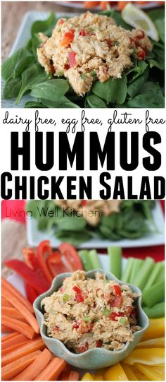 Hummus Chicken Salad from /memeinge/ is a creamy, allergy-friendly chicken salad full of protein and fiber