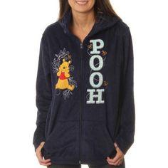Disney Women's Winnie the Pooh Plush Fleece Full Zip Hoodie, Size: XL, Blue